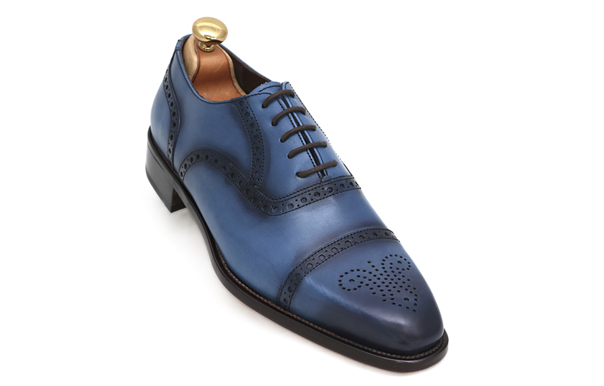 Artisan blue mocasin man shoes Mallorca